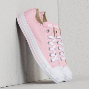 Converse women's pink white low top shoes